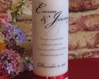 Everlasting Heart and Ribbon Personalized Unity Candle 3 Piece Set  - WHITE ONLY - Tealight Insert