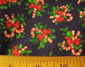 Winter Holiday Blue Christmas Red Candy Cane Fabric  - half yard
