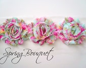 "Shabby Chiffon Rose Trim - 1 yard -- 2 1/2"" wide -Spring Bouquet"