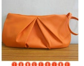 Tangerine Tango Vegan Leather Clutch Pleated Zippered