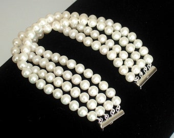 "ASHIRA AAA Cultured Natural White Round Pearl 4 Strand Bracelet 7 1/2"" - Fits Medium Wrist"