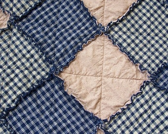 Queen Size Rag Quilt and Set of 2 Ragged Shams, Navy Blue Homespun and Egg Beige, Country Primitive Rustic Bedding, Handmade in NJ