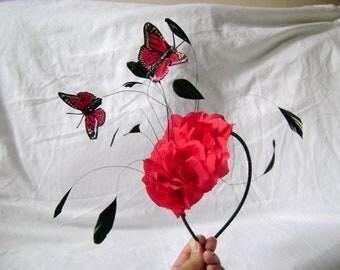 Ruby Red Floatiing Butterflies Fascinator Headband