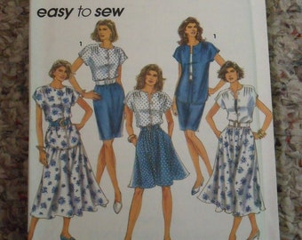 Vintage 1992 Misses Top and Skirt Pattern, Simplicity 7901, Sizes 12 through 18, Uncut, Flared, Slim, Two Lengths, Church, Mother's Day