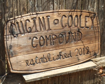 Custom carved wood sign - personalized for home, wedding, anniversary or business - reclaimed  western cedar