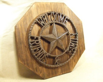 Rustic Cast Iron Star  Welcome Sign (1/2 price sale)  lodge cabin decor  reclaimed western cedar