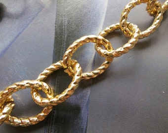 6ft Gold tone Aluminum twisted Textural LARGE BIG Flat Oval Ring Jewelry Link Chains 15x19mm - K11310