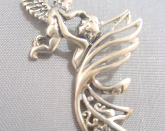 Solid 925 Sterling Silver Mother and Baby Angels Pendant Necklace