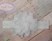 Baby headband, infant headband, newborn headband, white flower headband, photo prop, white chiffon flower on white lace headband