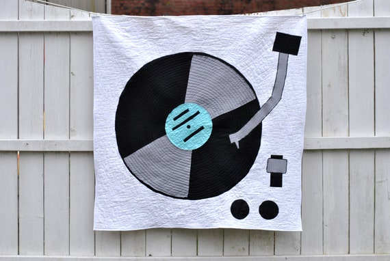 Modern Baby Quilt: Turntable, Record Player, Music, Solids