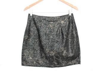 90's Velour animal print mini skirt size - M/L