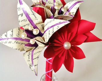 Personalized Paper 1st Anniversary Bouquet- paper flower wedding bouquet, bride, one of a kind, made to order, gifts for her