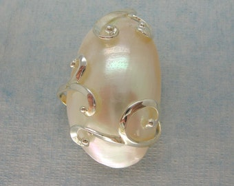 Large White Shell Oval Wired Pendant