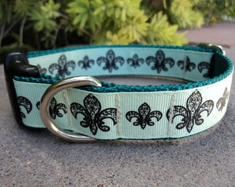 "Sale Dog Collar Aqua Fleur de Lis 1"" wide adjustable side release buckle / no martingale limited ribbon"