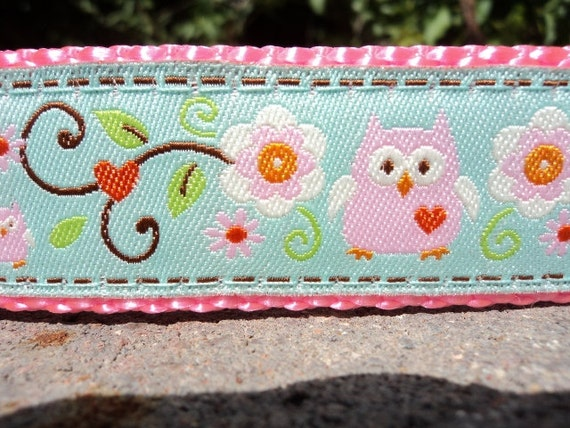 """Sale Dog Collar Pink Owls & Hearts 1"""" wide side release buckle - martingale style is cost upgrade"""