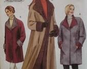 Fake Fur Reversible Coat Pattern, , Princess Seams, Flip Back Collar, Cuffs, Buttons Vogue No. 7627 UNCUT Size XS S M (6 8 10 12 14)