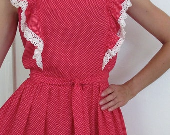 The Vintage 1970's Red Mini Polka Dot Bibbed Jumper