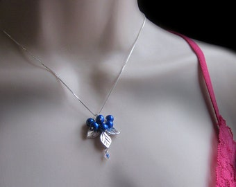 Blueberry Sprig Necklace Freshwater Pearls Sterling Silver Box Chain Womens Jewelry Gift