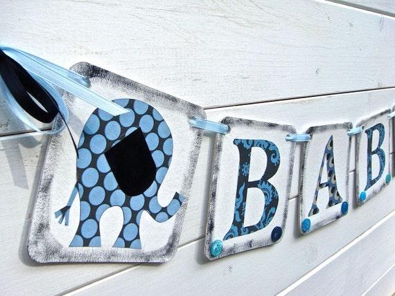Boy Baby Shower Banner, Elephant Banner,Baby Shower, Blue Black Gray, Hand painted baby shower banner, boy nursery