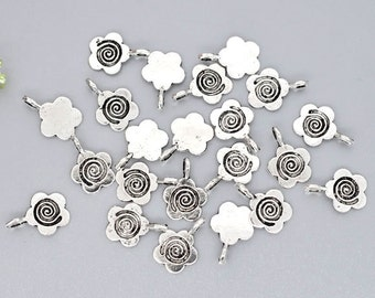 10 Antique Silver Fancy Five Petal Flower Glue on Bail 15x11mm DIY Jewelry Making