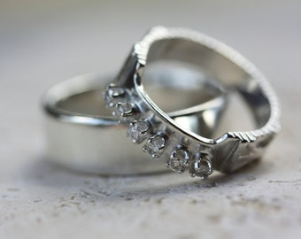 Custom Wedding Rings - Made to Order - Silver or Gold and Diamonds -