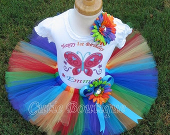 1st 2nd 3rd 4th Butterfly Birthday Outfit Set With Personalized Shirt -- All Sizes --Birthday, Photo