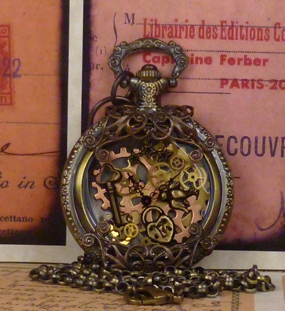 Airship Captain Steampunk vintage pocket watch pendant PW062