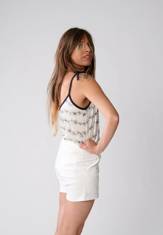 SALE 70% White with bow tie sketch print shirt, Women tank top, Summer fashion