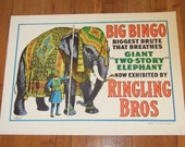 "1960's Ringling Brothers Circus Elephant Vintage Poster 22""x28"""