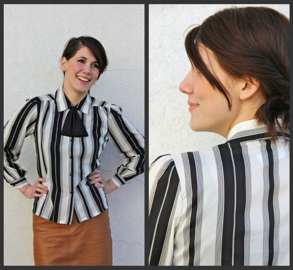 SALE. 1980's. black. white. striped. ascot bow. button up. vintage blouse. Sz m/l.