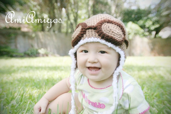 Cool Aviator Crochet Hat (Made to Order - Available in baby to adult sizes)