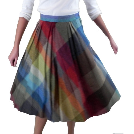 plaid skirt rainbow bias cut a line vintage by