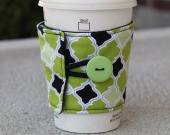 Reusable Coffee Cup Cozy / Sleeve - Lime Green and Black Diamonds