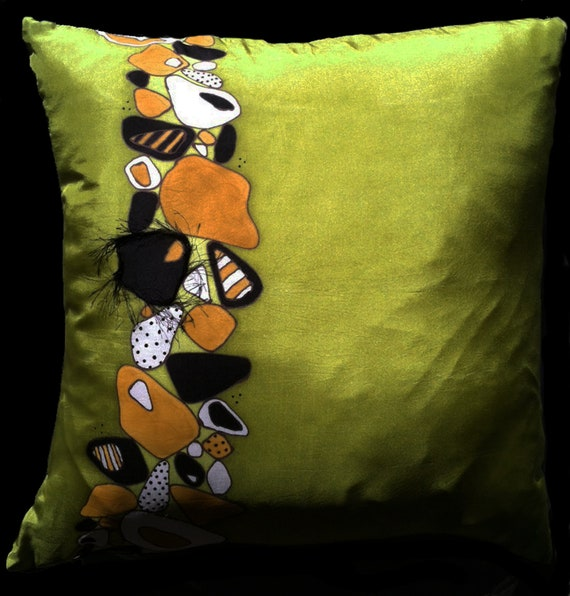 "Hand Painted  Silk  Throw Pillow -  ""Rocky Road"". MADE TO ORDER"