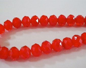 Brilliant Faceted Opaque Red Crystals Bead Strand