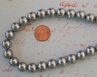 Small Silver Lightweight Acrylic Round Beads Strand