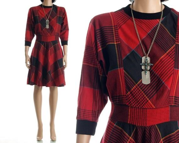 Vintage 80s Plaid Dress - Red Black Batwing Sleeve High Waist Grunge Dress - M