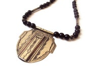 Tuareg Silver and Copper Necklace, Etched African Silver, Tribal Necklace, Boho Silver Pendant  w/ Onyx Beads