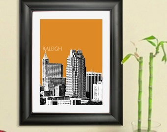 Raleigh Skyline Poster - Raleigh NC City Skyline - Art Print - 8 x 10 Choose Your Color