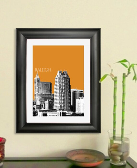 Raleigh Skyline Poster - Raleigh NC City Skyline - Art Print - 8 x 10 Choose Your Color