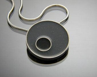 Circle Sterling Silver Necklace with Charcoal and Black Resin