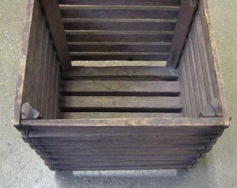 vintage primitive wood slat  basket container