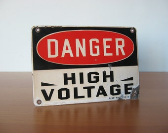 Vintage Danger Sign - High Voltage  - Industrial Factory Signage