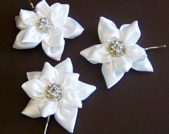 White, Satin, Bridal Bobby Pins - Set of Three