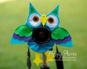 Lens Bling - Pet Blue Green Owl
