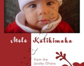 Red & White Mele Kalikimaka  5x7 Photo Card