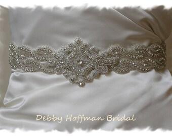 """Bridal Belt, 30"""" Jeweled Wedding Dress Sash, Rhinestone Wedding Belt, Crystal Bridal Sash, No 1126S2-1161-30, Wedding Belts and Sashes"""