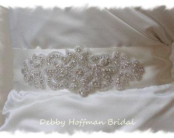 Rhinestone Bridal Belt, Crystal Wedding Dress Sash, Crystal Jeweled Wedding Belt, Silver Beaded Wide Bridal Sash Belt, No. 2046S1161-2.25