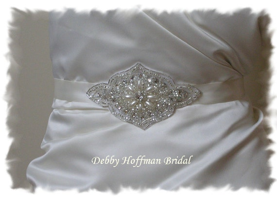 Pearl Beaded Rhinestone Bridal Belt, Pearl Wedding Dress Sash, Belt No. 3001S, Pearl Wedding Sash, Bridal Party Accessories, Belts & Sashes