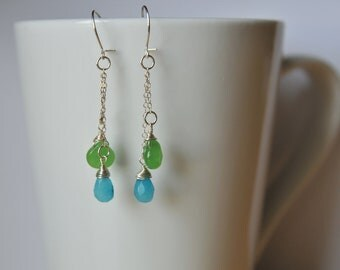 Green and Blue Jade Wire Wrapped Briolette Earrings